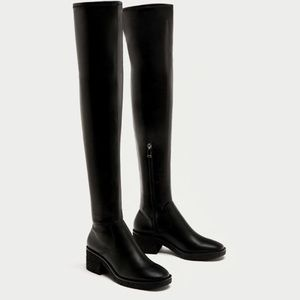 Zara Over The Knee Faux Leather Boots